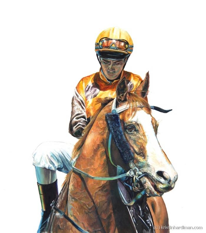Winner take All- horse racing equine art portraits - Kristin Hardiman