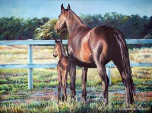 Mother and Daughter equine art